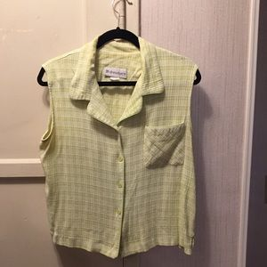 Used lime green and white sleeveless blouse